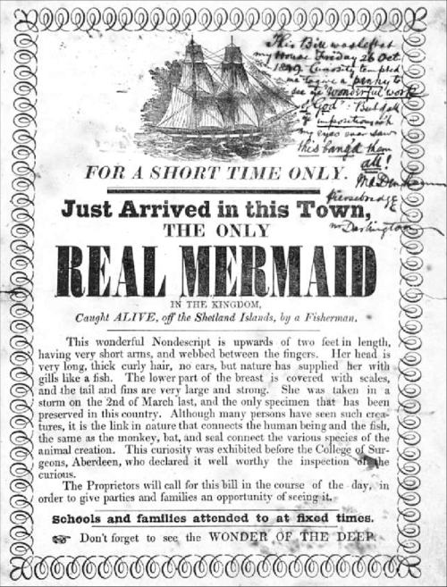 small resolution of notice of the exhibition of a real mermaid letterpress with a manuscript