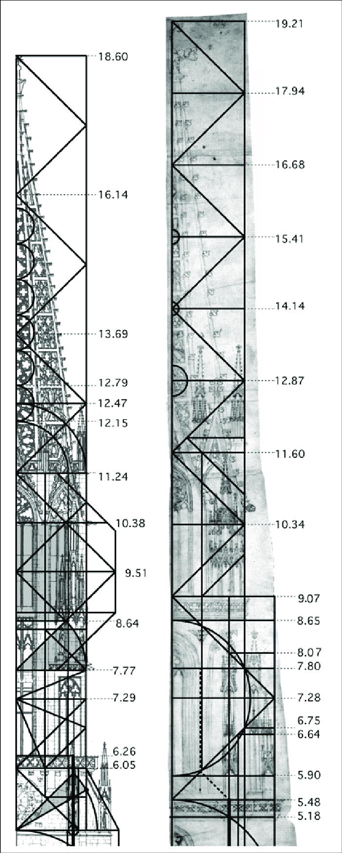 a) (left) Elevation of Freiburg tower superstructure, with