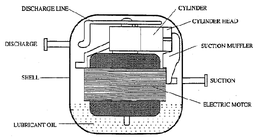 Schematic of a hermetic reciprocating compressor