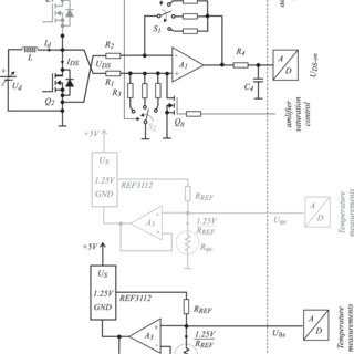 Differential amplifier scheme for U DS measurement and the
