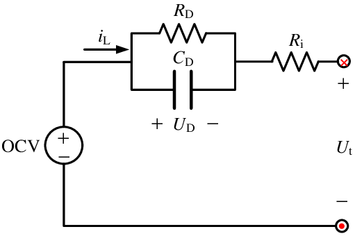 Schematic diagram of lumped parameter battery mode. OCV