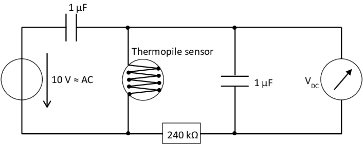 Electrical circuit for driving the thermopile as gas