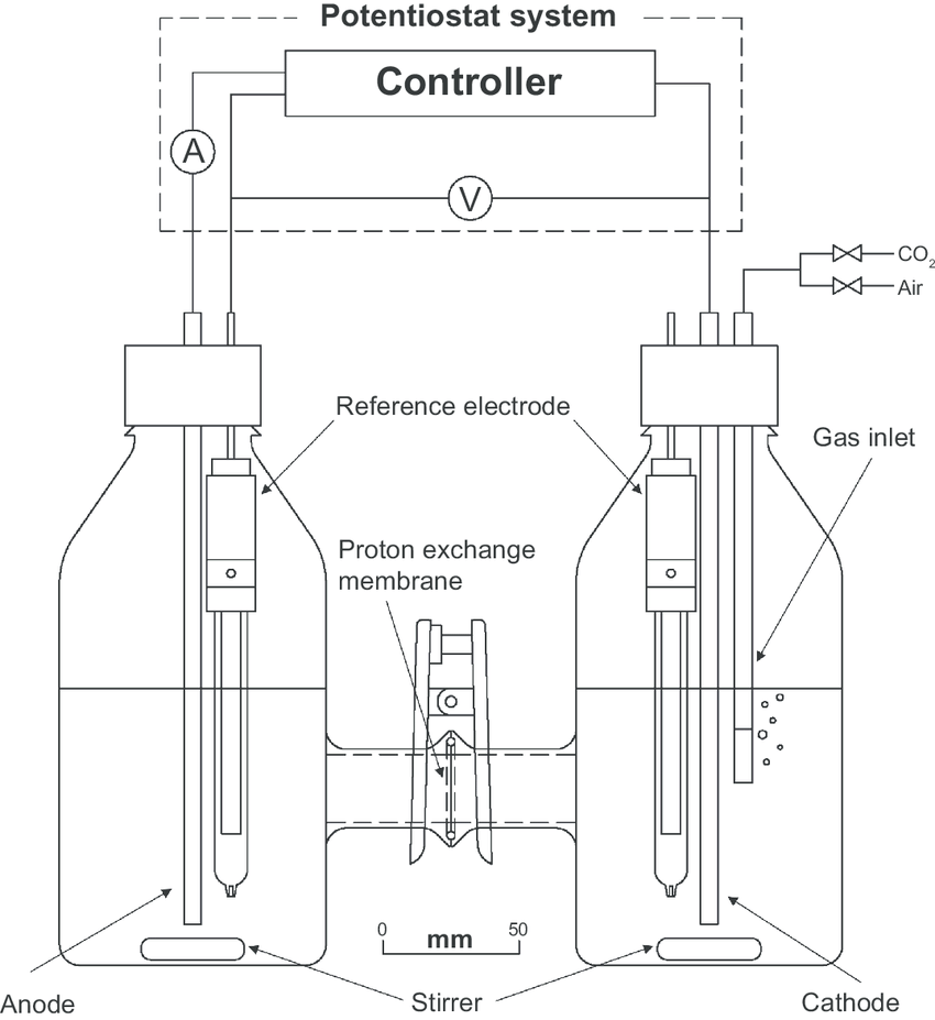 hight resolution of schematic diagram of the microbial fuel cell setup with the photosynthetic biocathodic chamber on the right