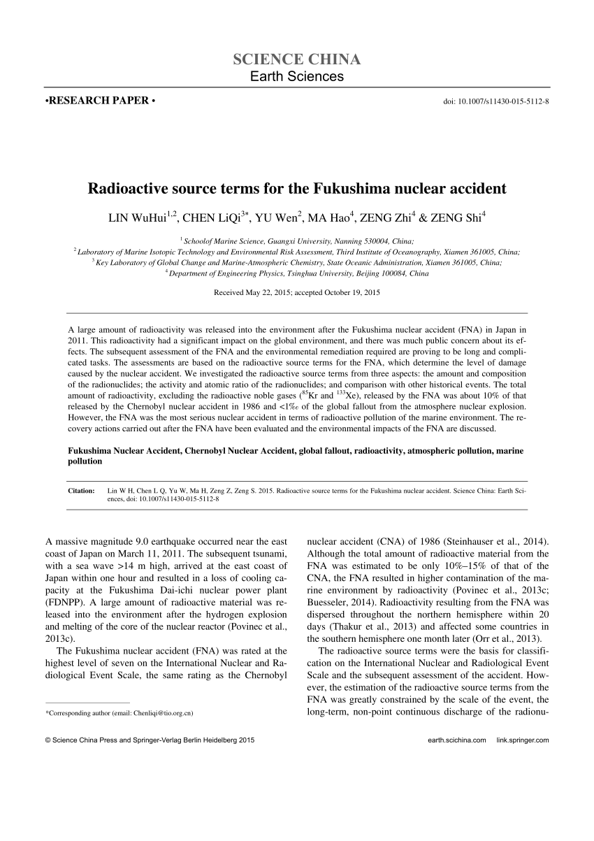 PDF Radioactivity Impacts Of The Fukushima Nuclear Accident On The
