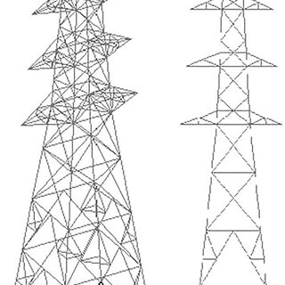Views of the transmission tower selected as case study