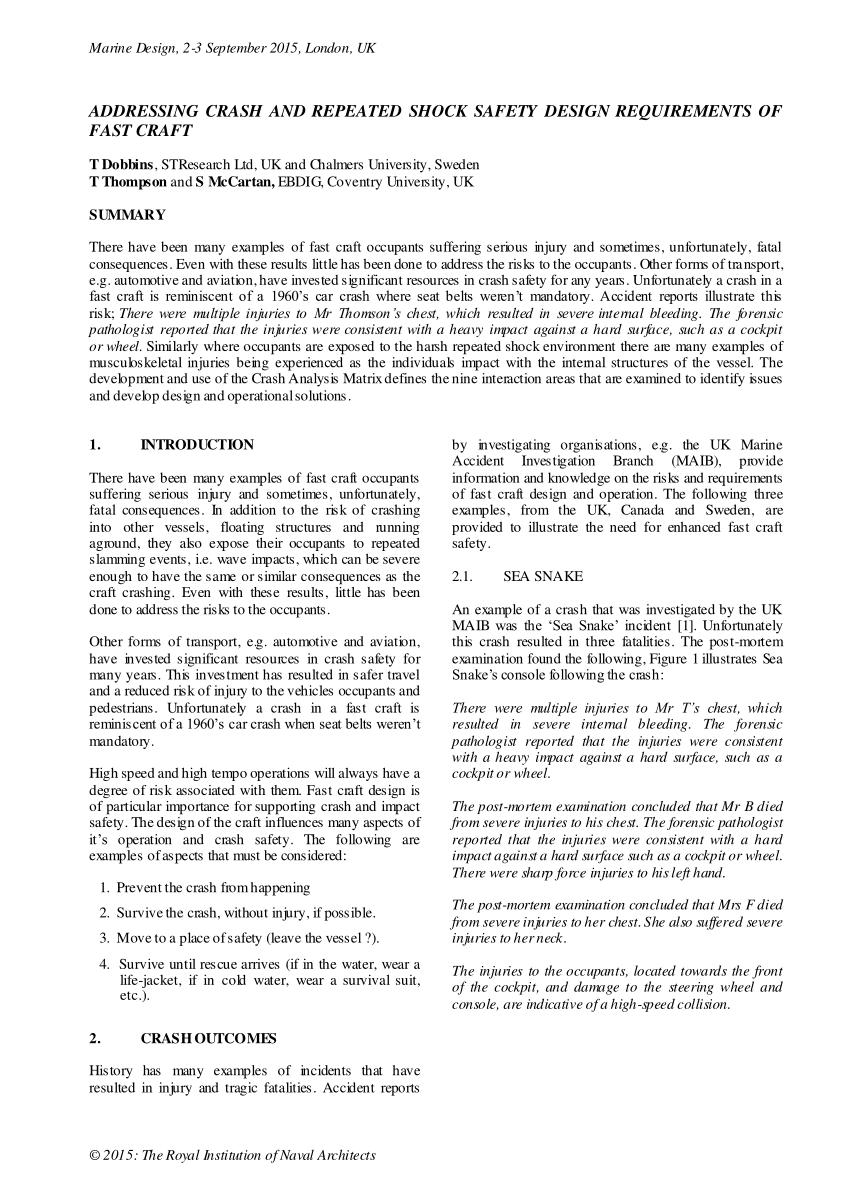 Vessel Incident Report Example