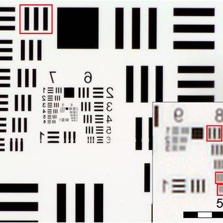 US Air Force 1951 three-bar resolution test chart. Image