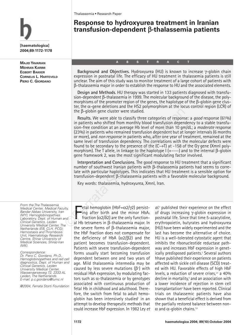 HYDROXYUREA IN THALASSEMIA MAJOR PDF Download Available