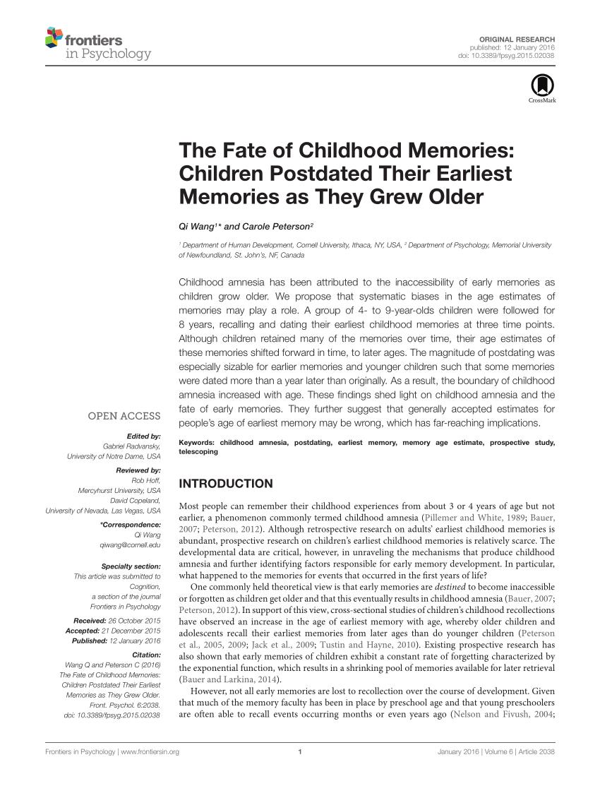 PDF Infantile Amnesia A Cross Cultural Investigation