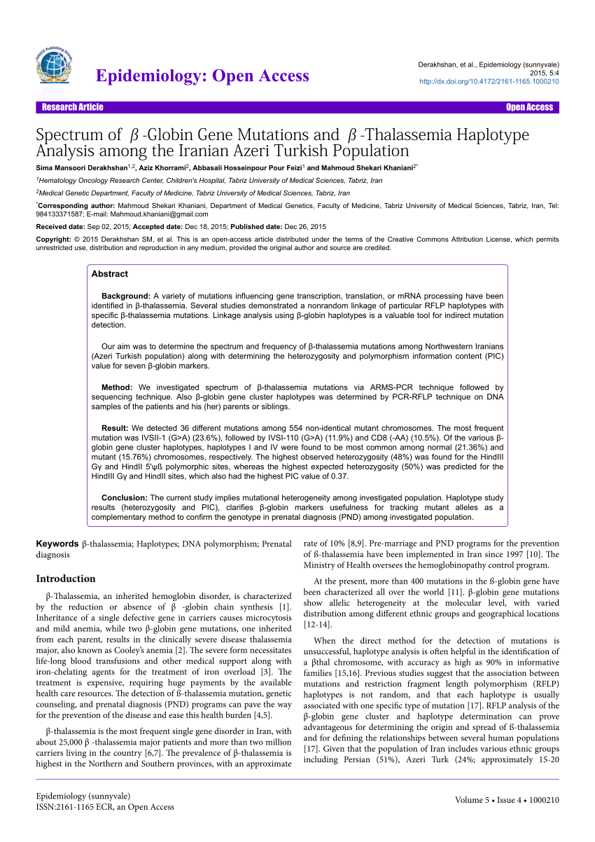 PDF Beta Globin Gene Mutations In India And Their Linkage To β β β