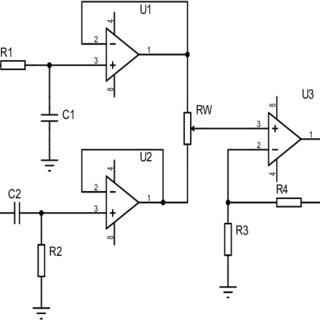 Second-order Butterworth low-pass filter circuit