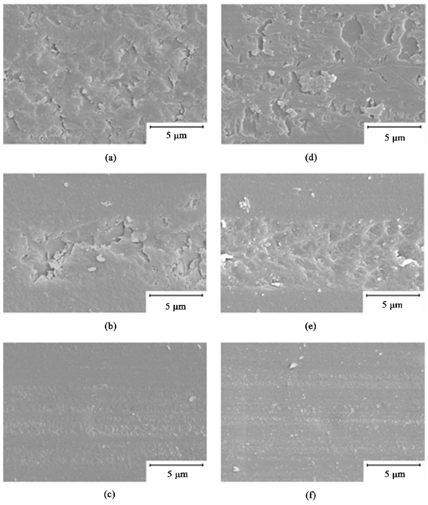 medium resolution of sem micrographs showing abrasion damage from steel wool abrasion test a ts