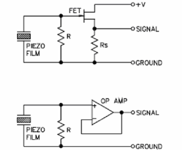 Unity gain buffer circuit for piezoelectric sensor
