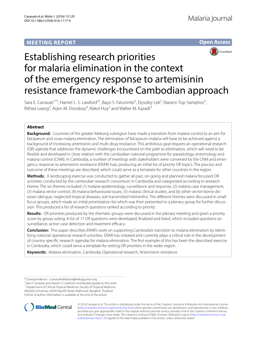 PDF Maximizing Research Study Effectiveness In Malaria Elimination