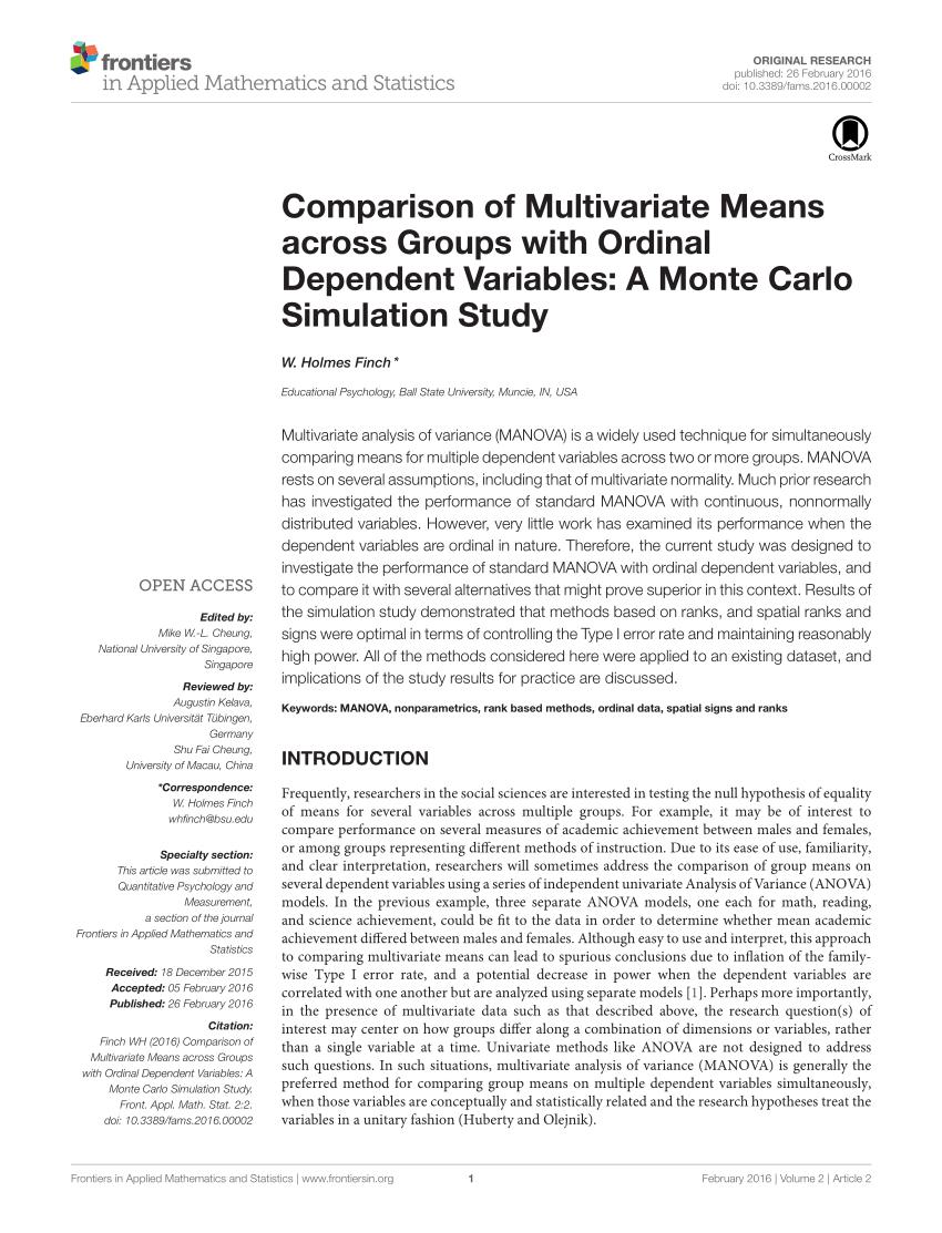 A Monte Carlo Comparison Of Robust MANOVA Test Statistics Request PDF