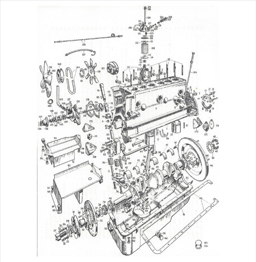 Exploded view of a 1953 Mk VII Jaguar in-line six internal