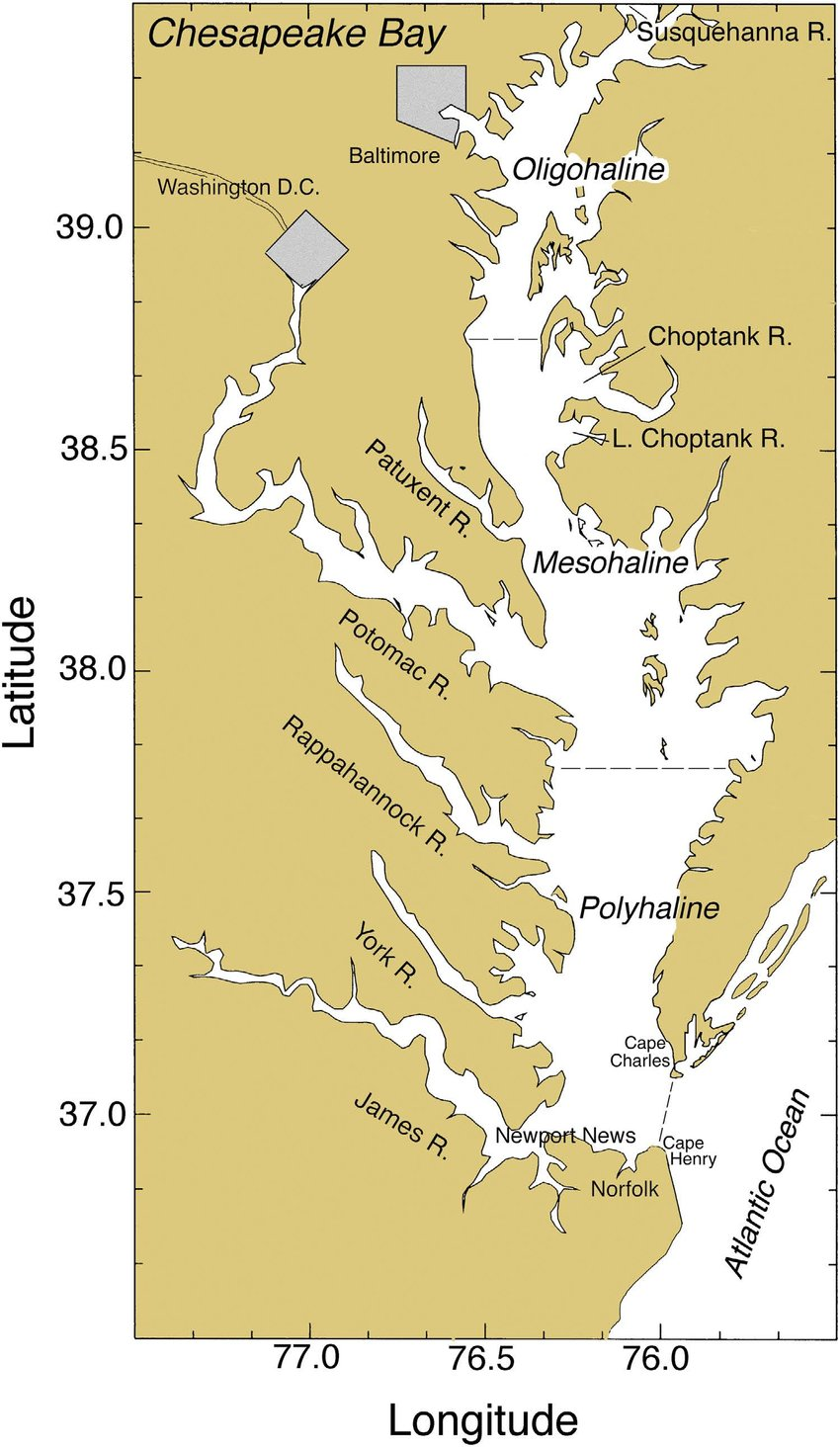 hight resolution of chesapeake bay showing major rivers cities salinity zones and sampling stations for pigments