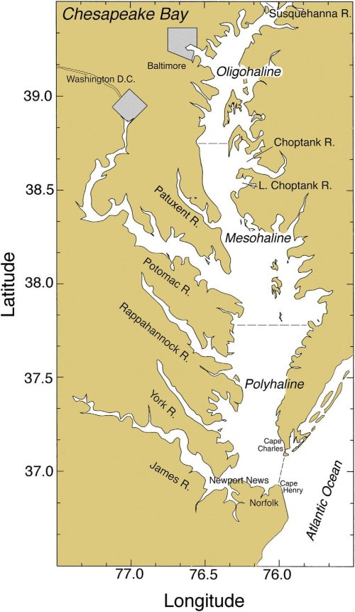 small resolution of chesapeake bay showing major rivers cities salinity zones and sampling stations for pigments