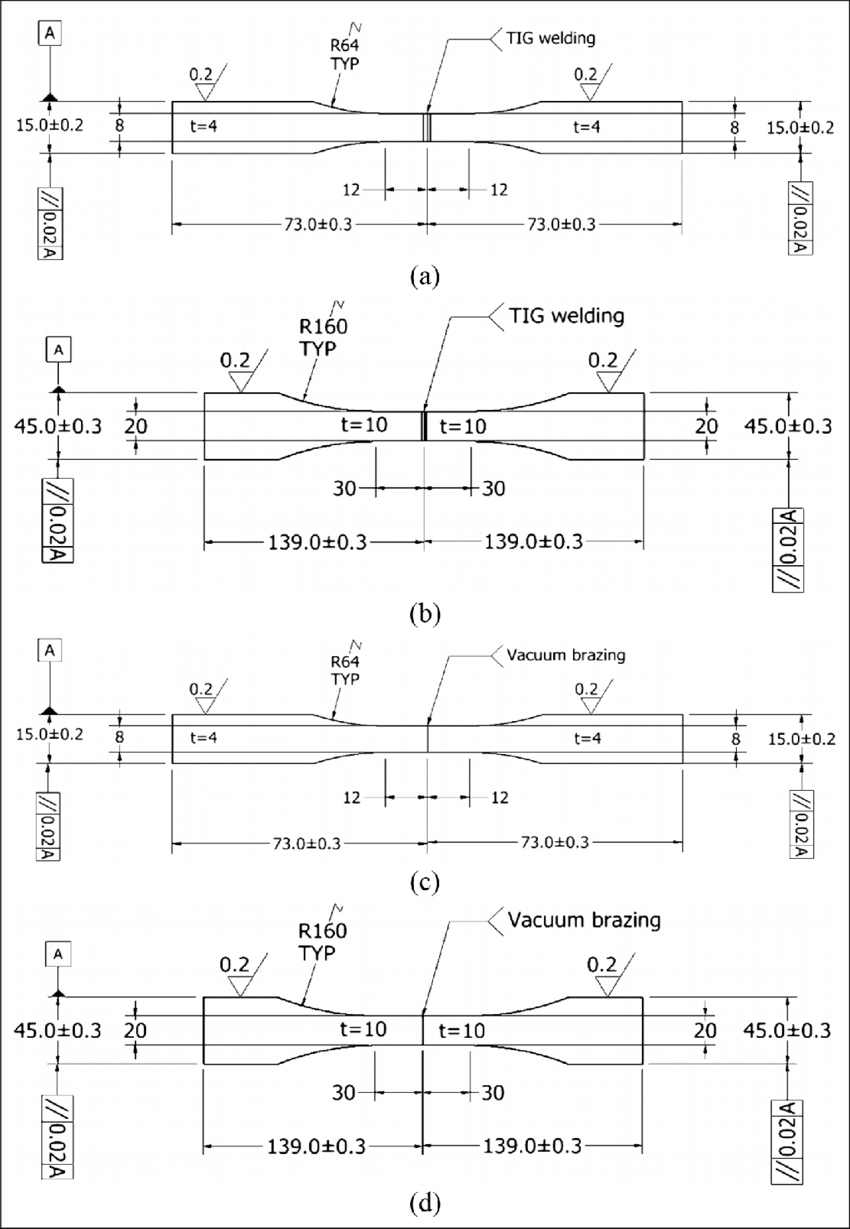 hight resolution of dimensions of fatigue and tensile specimens a 4 mm tig welding