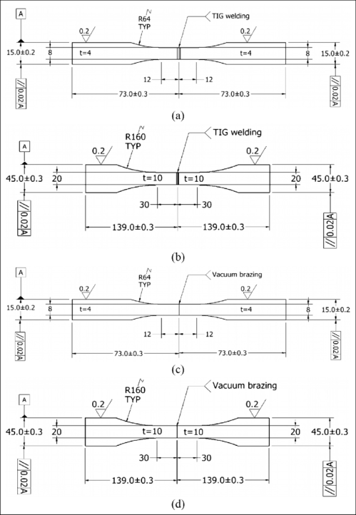 small resolution of dimensions of fatigue and tensile specimens a 4 mm tig welding