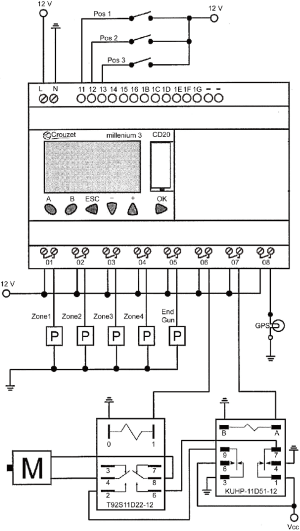PLC wiring diagram (P = pump; M = motor: T92S11D2212 and