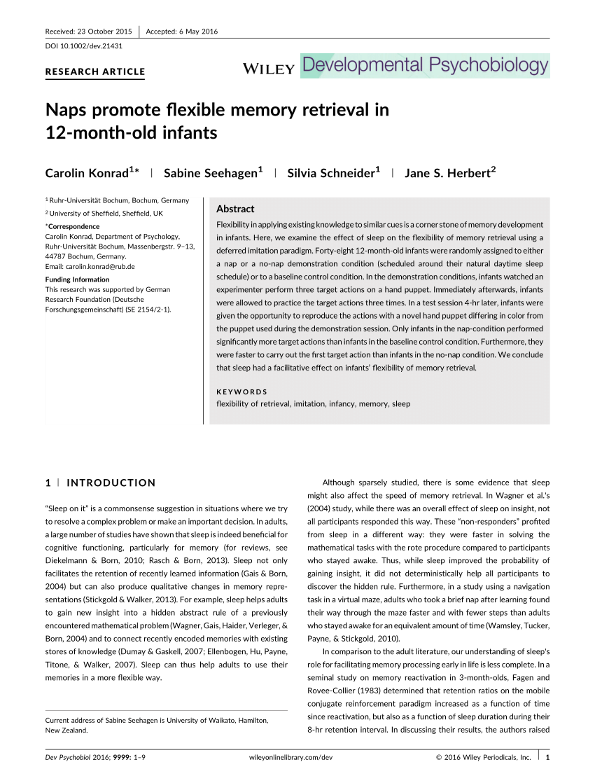 Infant Memory Development Implications For Childhood Amnesia