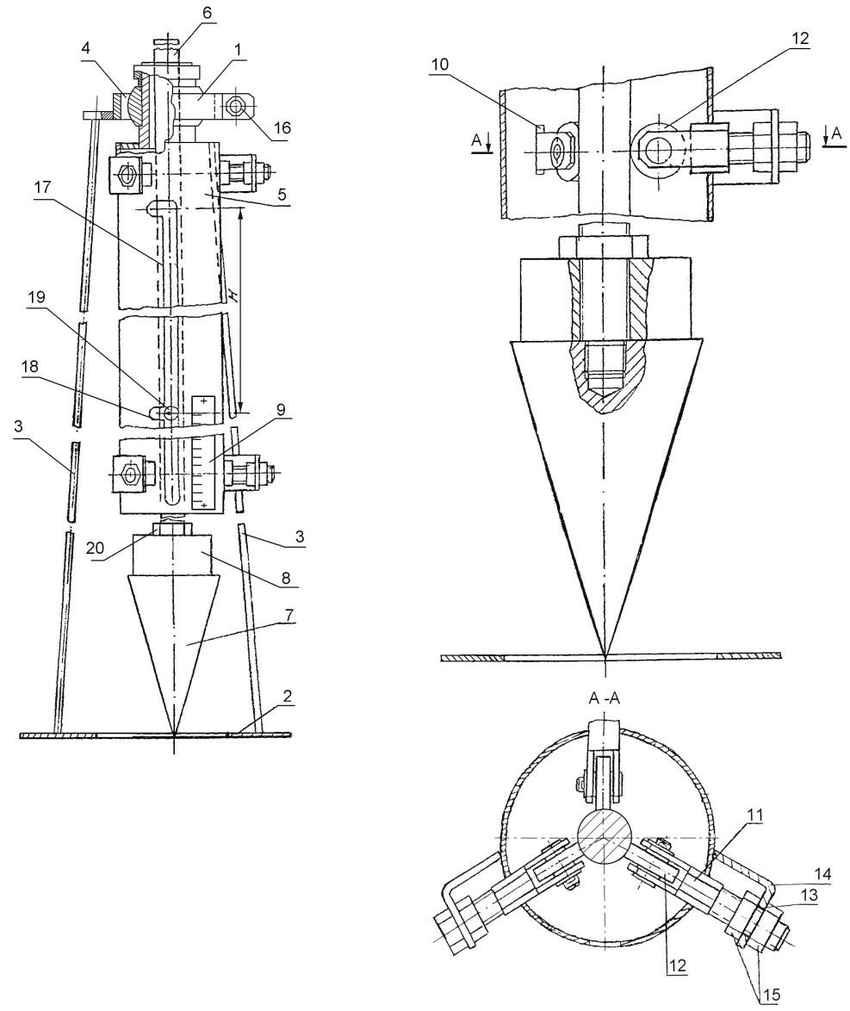 medium resolution of design of the device 1 framework 2 base 3 support 4ball bearings 5 the guide tube 6 pin 7 the conical tip indentation 8 change freight 9 ruler