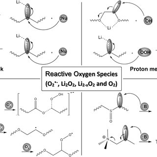 Electrolyte decomposition by auto-oxidation. a) Reaction