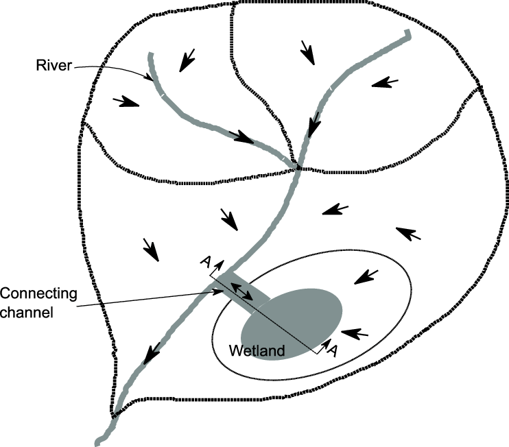 Graphical representation of a wetland and sub-basin in the