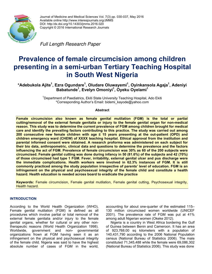 PDF An Overview Of Female Genital Mutilation In Nigeria