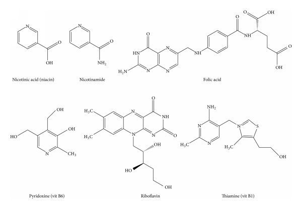 Chemical structures of six water-soluble vitamins analyzed