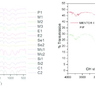 (a) FT-IR spectra of silicone gels extracted from all