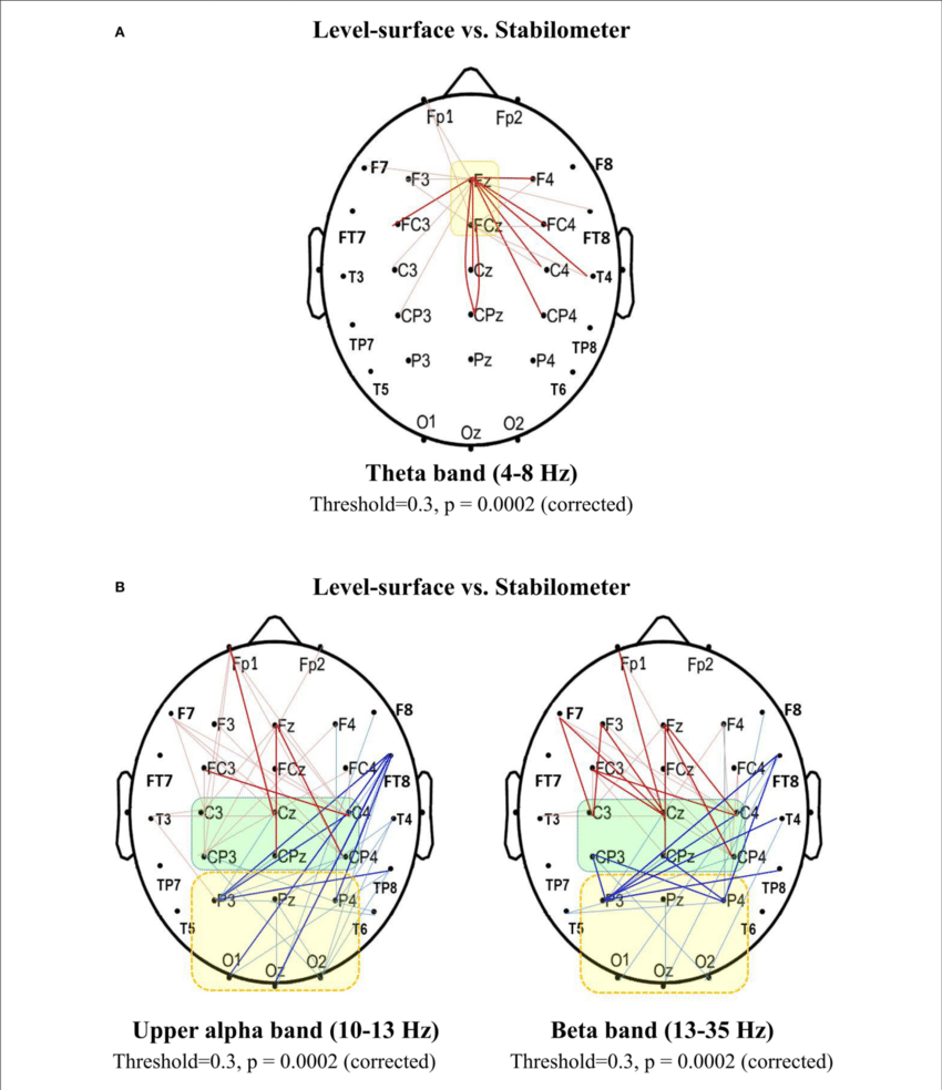 medium resolution of spectral connectivity analysis for contrasting wiring diagrams between the concurrent force matching and postural tasks