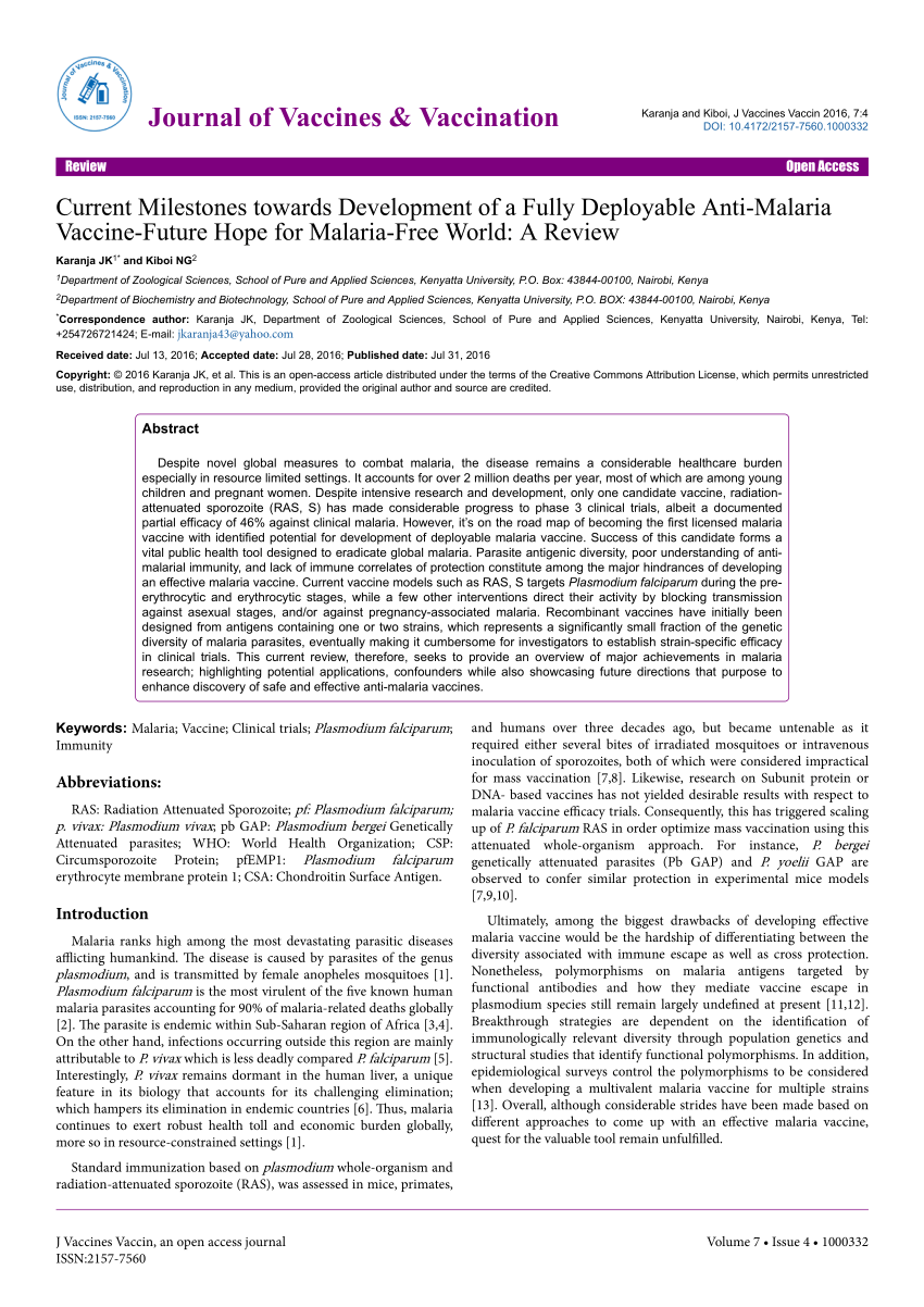 PDF Important Advances In Malaria Vaccine Research