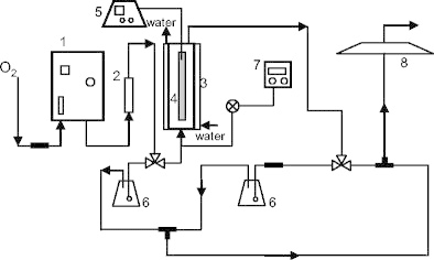 Schematic representation of the experimental set-up: 1