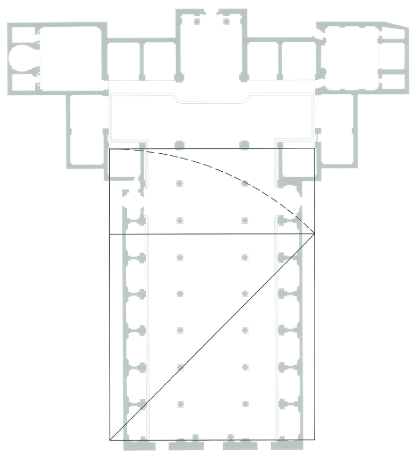medium resolution of basilica of san lorenzo floor plan with root 2 rectangle overlay suggesting a possible