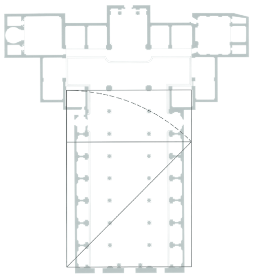 small resolution of basilica of san lorenzo floor plan with root 2 rectangle overlay suggesting a possible