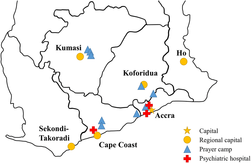 Map of Southern Ghana and location of prayer camps and