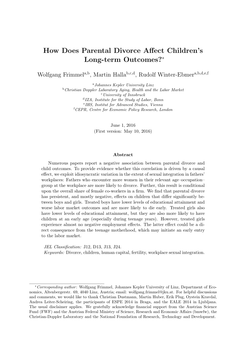 Children''s Adjustment To Divorce Theories Hypotheses And