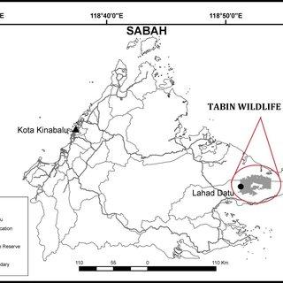 1: Map of Tabin Wildlife Reserve, Lahad Datu, Sabah
