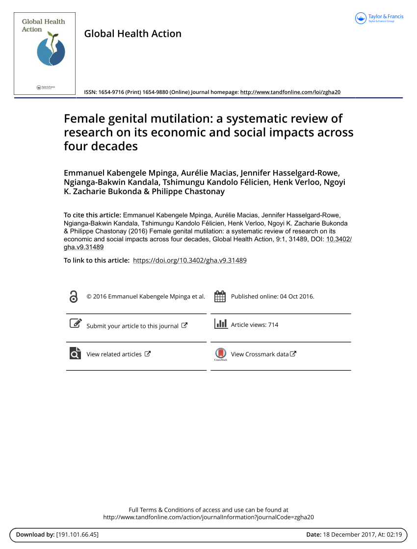 PDF Female Genital Mutilation A Literature Review Of The Current
