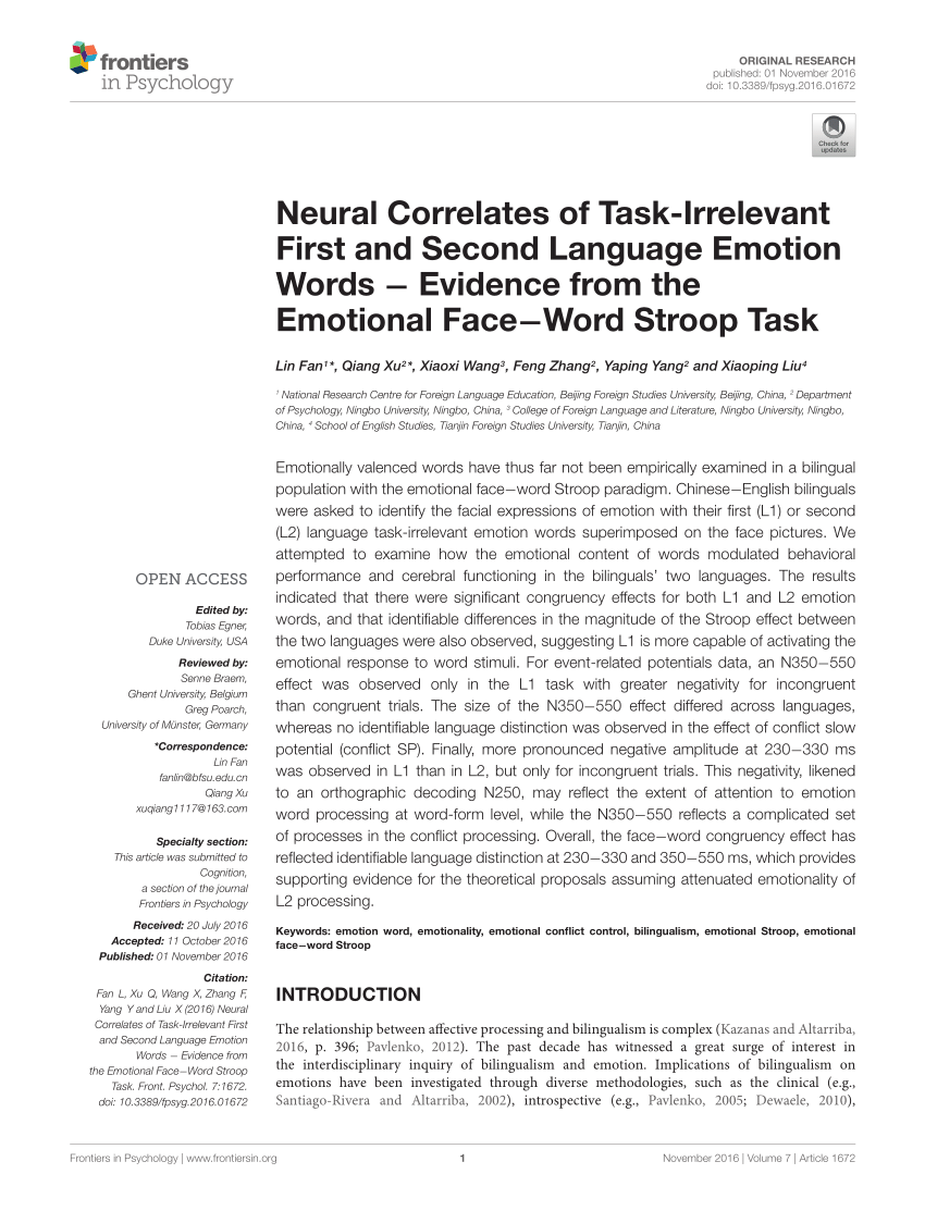 PDF Controlling Stroop Interference Evidence From A Bilingual Task