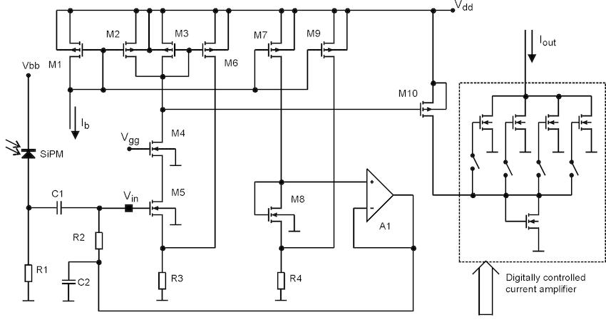 Schematic diagram of voltage-input programmable gain