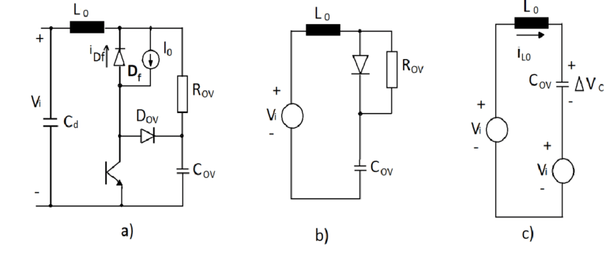 (a). Surge protection circuit; (b), (c). Equivalent