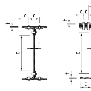 Definition of widths for classification of riveted cross