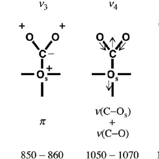 brational and bending modes in monodentate carbonate. O s