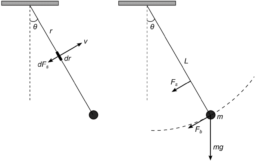 Diagrams of a simple pendulum showing (a) the drag force
