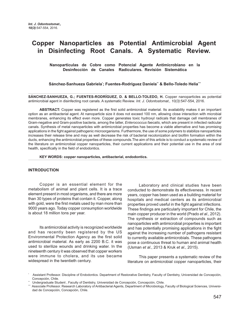PDF Copper Nanoparticles Mediated By Chitosan Synthesis And