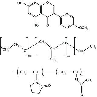 chemical structure of drug and excipients. Notes: (A