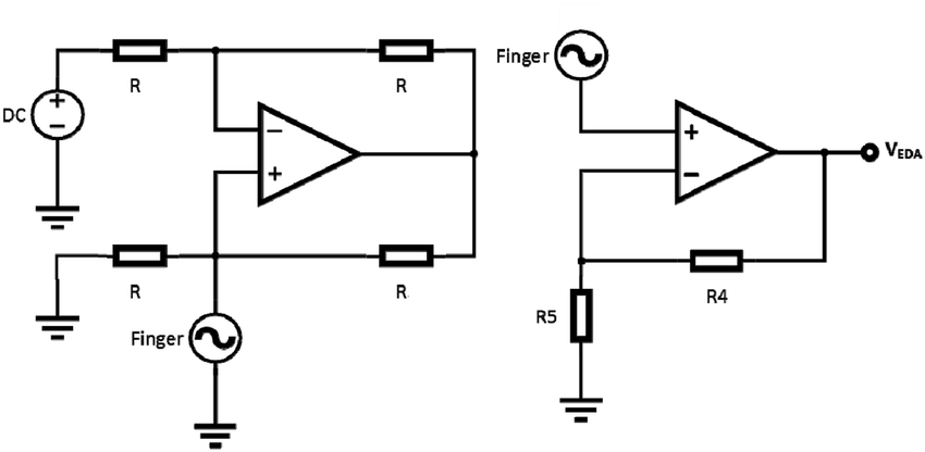 Schematic of circuit used for measuring EDA using DC